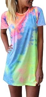 Women's Long Sleeve/Sleeveless T Shirt Dress Tie-dye Floral Print Tank Mini Dress