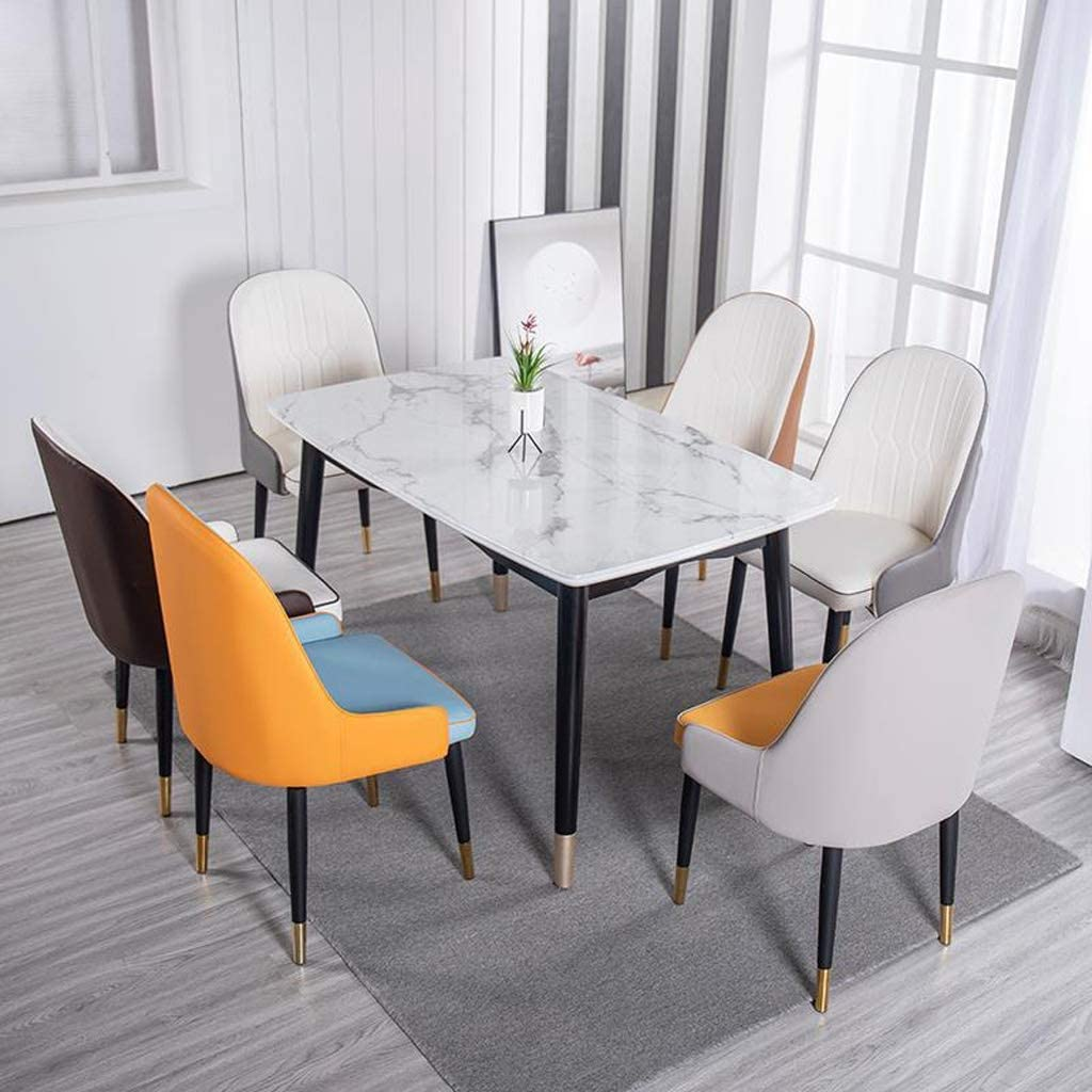 XXT Chaise de salle, Chaise de bureau simple, créative Dossier, Chaise Loisirs, Maison adulte Chaise de salle Durable (Color : Black-White) Orange-white