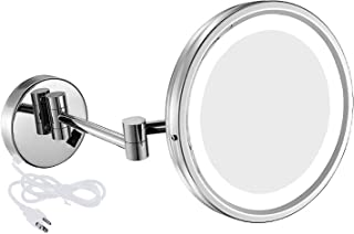 NiceVue LED Lighted Wall Mount Mirror 8.5-Inch with 7X Magnification, Swivel Mountable Makeup Mirror with Plug Chrome Finish (8.5in,7x)