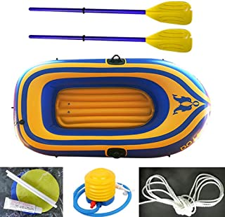 N/P Inflatable Kayak, Inflatable Boat Set, 2 Person PVC Inflatable Rafting Fishing Dinghy Tender Pontoon Boat with Oar Air Pump Rafting Rubber Boat for Water Sports Fun