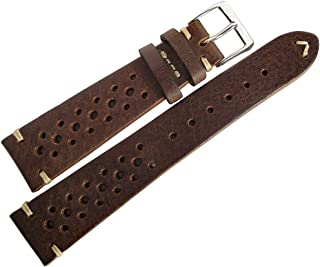 Fluco Hunter Racing 19mm Brown Leather Watch Strap