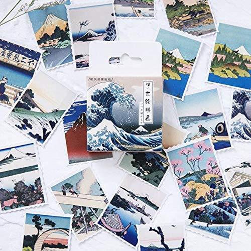 Zonfer 46pc Japonesa Wave Mini Papel Etiqueta Decoración Sello Scrapbooking Diario Diario Sello Pegatinas De Kawaii Papelería Aleatoria Estilo Scrapbooking del Arte