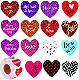1000 pcs Love Valentine's Day Sticker, Heart Roll Stickers, Valentine's Day Colorful Sticker Valentine's Love Decorative Sticker Heart Labels for Happy Valentines Day Decoration Wedding Party Favor