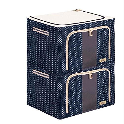 Xuan - Worth Another Bleu Blanc Point 2 Pcs Oxford Boîte de Rangement en Tissu Stockage de Courtepointe Boîte de Jouet La boîte de Finition Cadre en Acier renforcé Support (50 * 40 * 33cm)