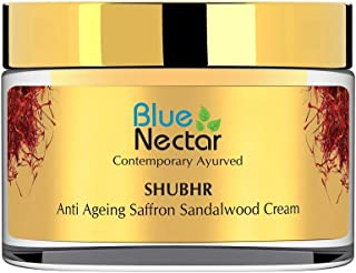 Blue Nectar Anti Ageing Day and Night Brightening Face Cream for Wrinkles with Pure Saffron Sandalwood (No Parabens or Mineral Oil)