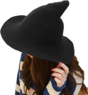 DELAISUS Witch Hat Sheep Wool Christmas Halloween Foldable Costume Ball Sun Cap for Winter