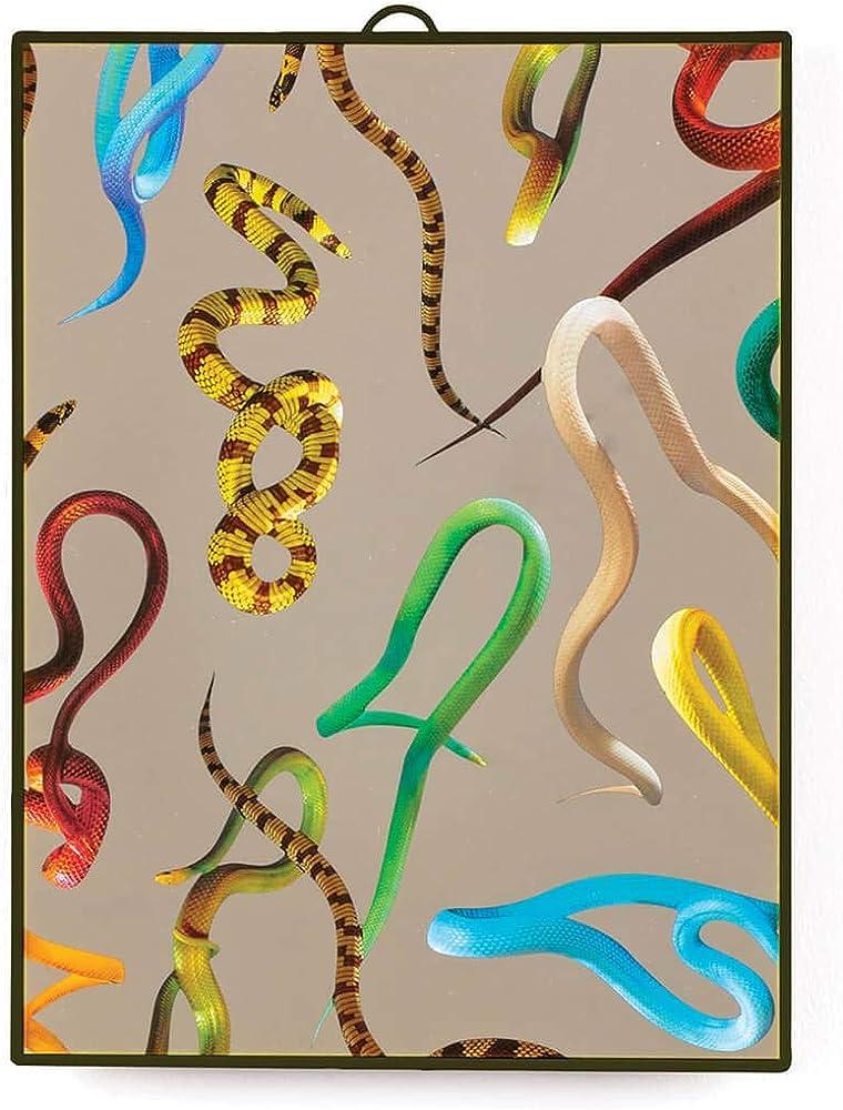 Seletti, wears toiletpaper plastic mirrors, specchio, medio/snakes,in vetro specchiato e cornice in legno 8008215171142