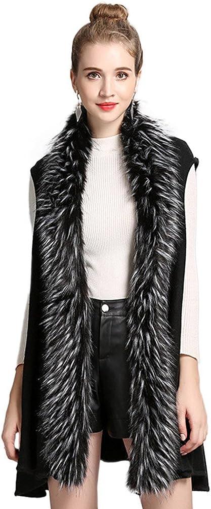 Women's Faux Fur Sleeveless Knitted Cardigan Waistcoat Coat Outwear