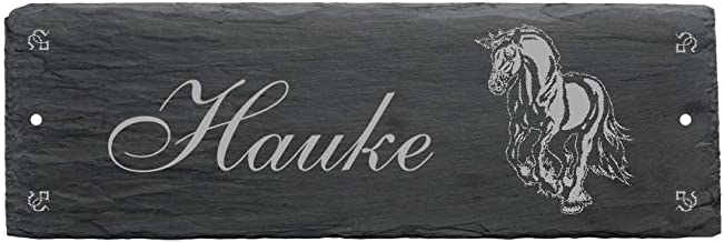 Bord leisteen paard Friese paardenbox stalbord gewenste naam 22 x 8 cm
