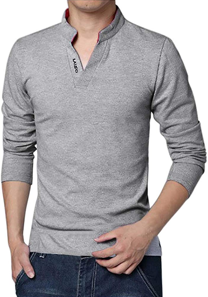 Men's T-Shirt, F_Gotal Autumn Winter V-Neck Solid Color Henry Button Long Sleeve Top Fitted Blouse Pullover Sweatshirts