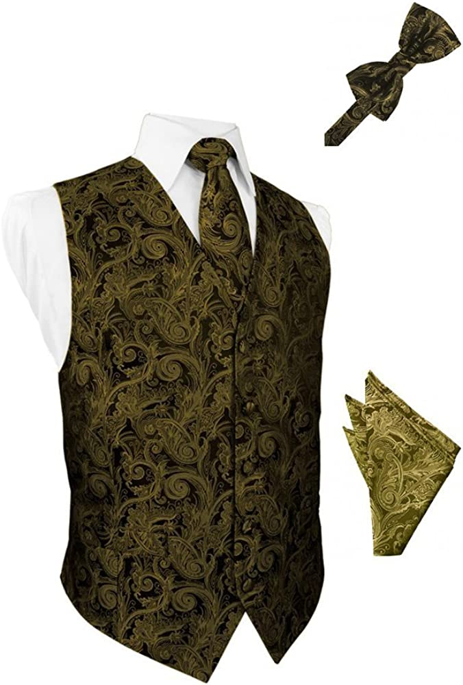 New Gold Tapestry Satin Tuxedo Vest with Long Tie Bowtie and Pocket Square Set