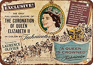 Personalised Door Hanger Teenager Novelty Metal Sign for Home Decor Tin Sign for Man Women Cave 12x16 inch,1953 A Queen is Crowned Documentary,Aluminum Metal Sign for Wall Decor