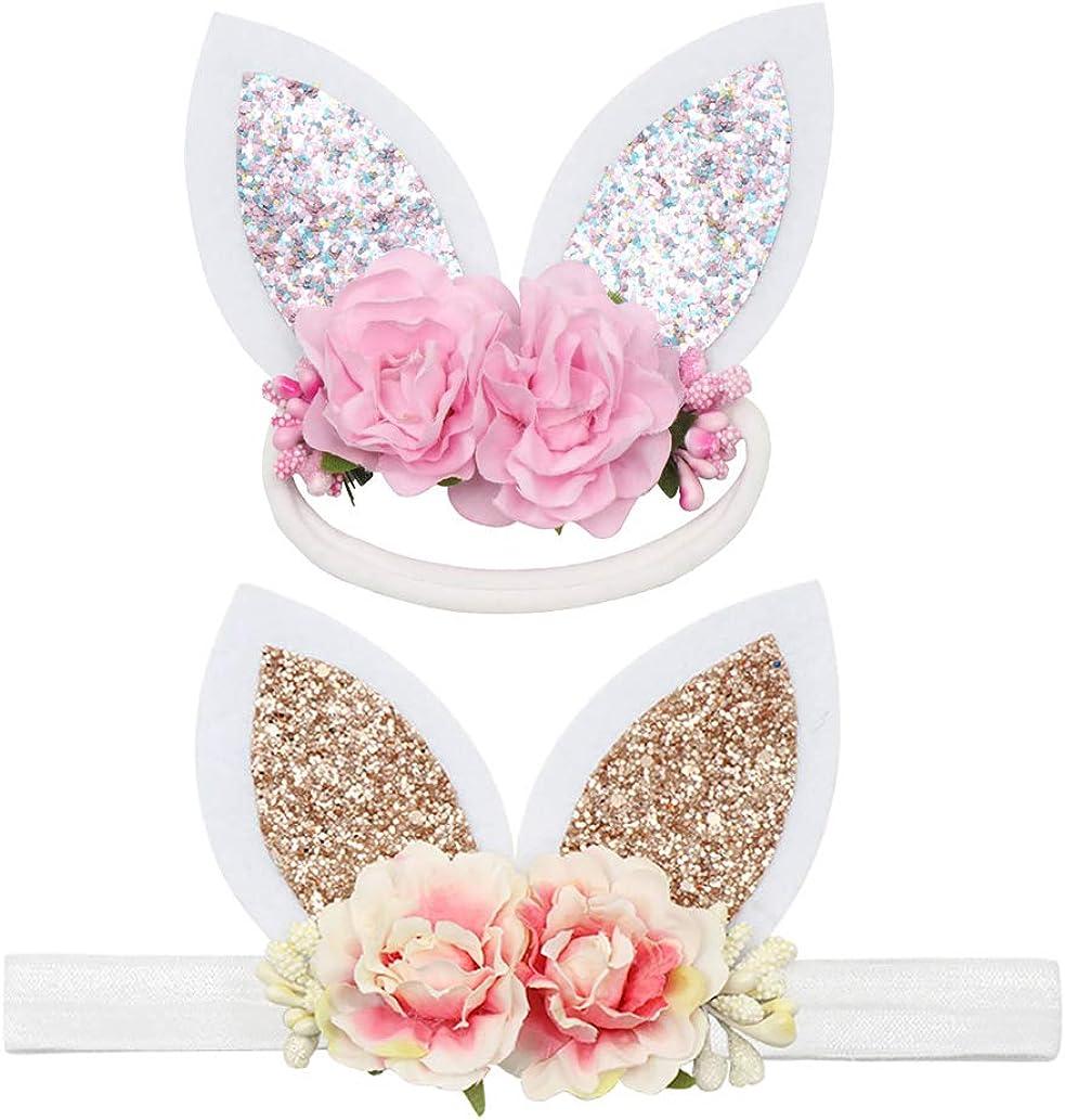 Blue Glitter Floral Easter Bunny Ears InfantToddler Headband