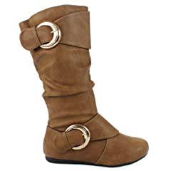aeaf364f2e0 JJF Shoes Women B-85 Dual Buckle Leatherette Mid-Calf Casual .