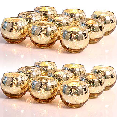 LETINE 36pcs Gold Votive Candle Holders for table - Round Tealight Candle Holder Bulk -Ideal Mercury Glass Votives Centerpieces for Wedding Table Decorations, Valentines Day Decor,Parties & Home Decor