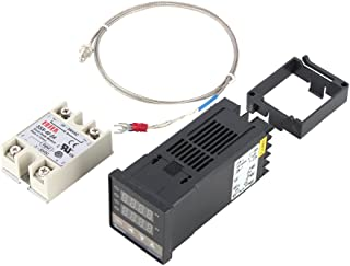 PID Temperature Controller, Digital PID Temperature Controller Dual Digital Display REX-C100 Temperature Controller + max.40A SSR + K Thermocouple 0 to 400℃ PID Controller Set