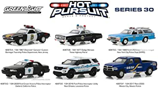 Greenlight Hot Pursuit Series 30 Diecast Car Set - Box of 6 Assorted 1/64 Scale Diecast Model Cars