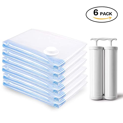 MRS BAG Strong Vacuum Storage Bags 6 Jumbo (120x80CM) Space Saver Bags Reusable with Double Hand Pump Against Moisture and Dust, Vacuum Seal Bags for Clothes, Duvets, Bedding and Travel Packing