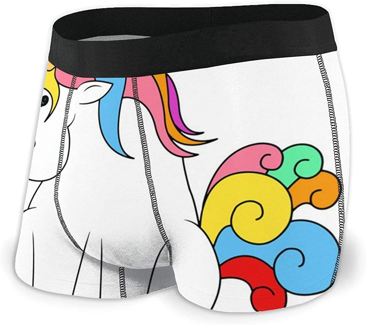 Mens Boxer Briefs Cartoon Cute Rainbow Unicorn Boys Trunks Underwear Short Leg Breathable Man