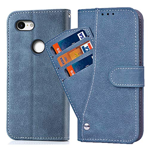 Asuwish Pixel 3XL Case,Phone Cases Wallet Leather with Credit Card Holder Slim Kickstand Stand Flip Folio Protective Cover for Google Pixel 3 XL Women Girls Men Blue