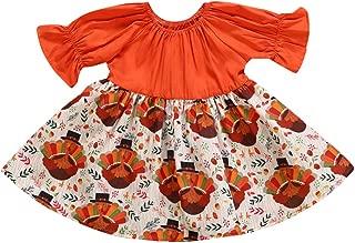 Muasaaluxi Toddler Baby Kid Girl Thanksgiving Dress Ruffled Sleeve Turkey Pattern Princess Party Dress Fashion Sundress