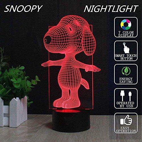 MEANS Snoopy Lampe 3D optische Täuschung LED Nachtlicht Touch Switch Tisch Schreibtisch Snoopy Lampe 7 Ändern der Farben Acryl Flat mit USB-Ladegerät oder Akku für Dekoration Geschenke