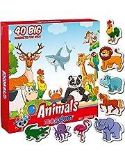 MAGDUM Zoo + Granja Animales 40 Imanes Infantil para niños - Imanes Nevera Grandes - Juguetes EDUCATIVOS bebé 3 años - Imanes magnética para Aprender - Teatro de imán Animales de la Jungla