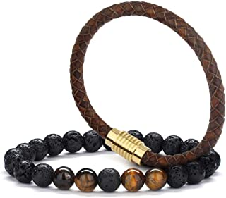 Braided Leather Mens Bracelet Gifts - 8mm Tiger Eye Lava Rock Stone Braided Leather Mens Bracelet, Stress Relief Anxiety Bracelet Aromatherapy Essential Oil Diffuser Lava Rock Bracelet Gifts for Men