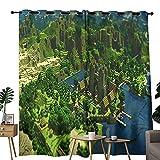 Cortinas de sala de estar Minecraft Coast castillo utilizado para oscurecer cortinas opacas en el dormitorio aislamiento térmico habitación 84 x 63 pulgadas
