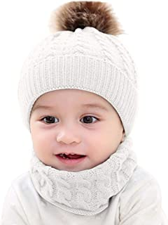 2Pcs Toddler Baby Girls Boys Winter Warm Knitted Bobble Hat Faux Fur Pompom Beanie Ski Cap+Scarf Keep Warm Set