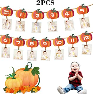 ShenBiadolr Pumpkin 1st Birthday Photo Banner Decorations - Newborn to 12 Month Display Milestone Photograph - Fall Party Baby Shower First Year Supplies Decors 2PCS