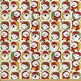 ABAKUHAUS Weihnachten Satin Stoff als Meterware, Santa