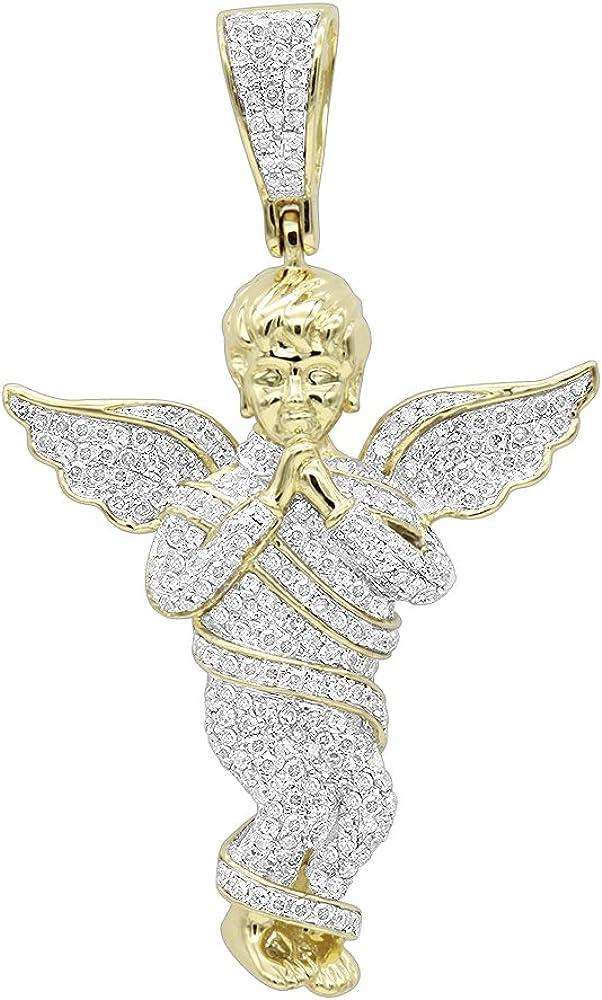 Mens 10K Rose, White or Yellow Gold Diamond Baby Angel Pendant 1.3ctw by Luxurman