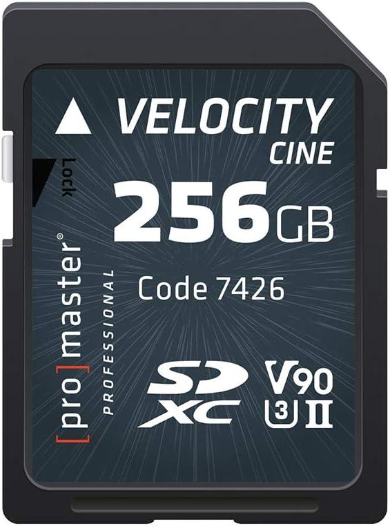 Promaster SDXC 256GB Velocity CINE Memory Card UHS-II Speed Class 3, U3 V90 Video