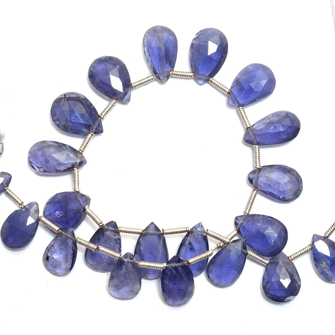 Natural Iolite, Listed by BESTINBEADS, AAA Quality Faceted pear Side Drill semi Precious Gemstone Bead Strand 4 inches Long.