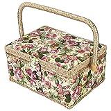 HERCHR Cesta de Costura Grande, Caja de Costura de Tela Vintage, Kit de Costura, Caja de Almacenamiento con Bandeja extraíble, Bolsillo Interior para Suministros de Costura(Rosa)