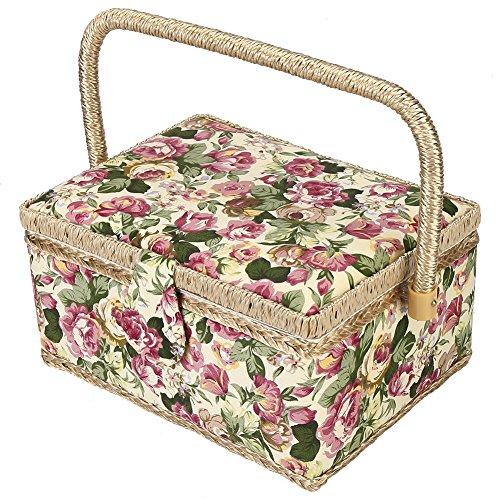 Panier de Kit de Couture,Walfront Panier en Polyester Bois et PP Stockage de Ménage de Couture Rose, Orange, Vert (Rose)
