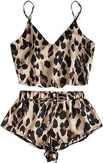Leopard Sleepwear On For Women Sexy Sleepwear Satin Lingerie Lace Nightwear Tops Shorts Female Underwear Lingeire