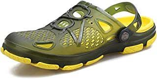 QinMei Zhou Clogs Sandals for Men Anti-Slip Water Shoes Breathable Slippers Outdoor Beach Shower Slip On Light-Weight Round Head Walking Shoes (Color : Green, Size : 6 UK)