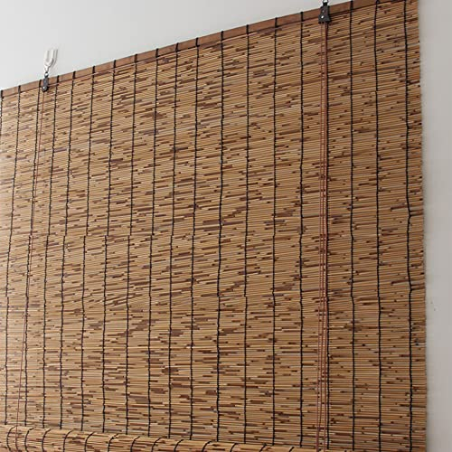 TRGCJGH Reed Roll Up Blinds Bamboo Curtain Outdoor Bamboo Roll Up Shade Decoration Light Filtering Sunshade Waterproof Retro for Outdoor Indoor Garden Patio,Truecolor-47 * 79in