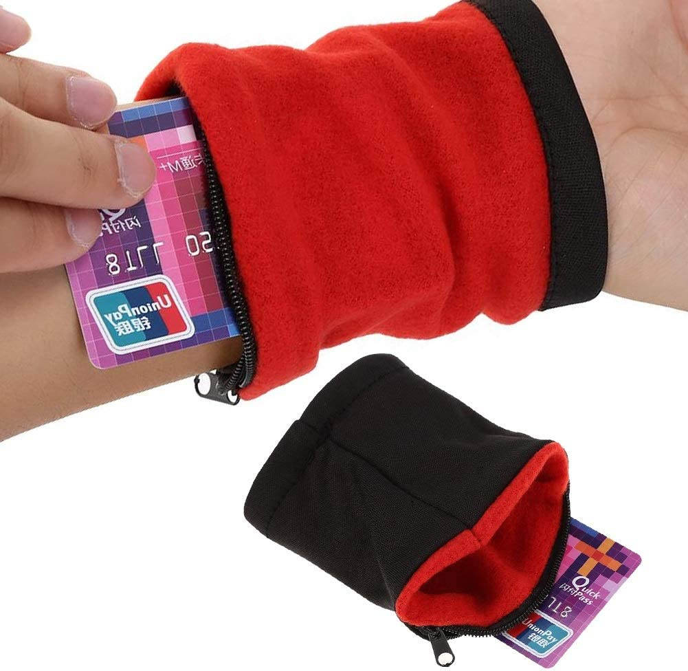 Wwin Sports Wristband Wallet Sweatband with Pocket Wristband Key Holder Suitable for Men Women Perfect for Running,Gym Workout,Hiking,Traveling