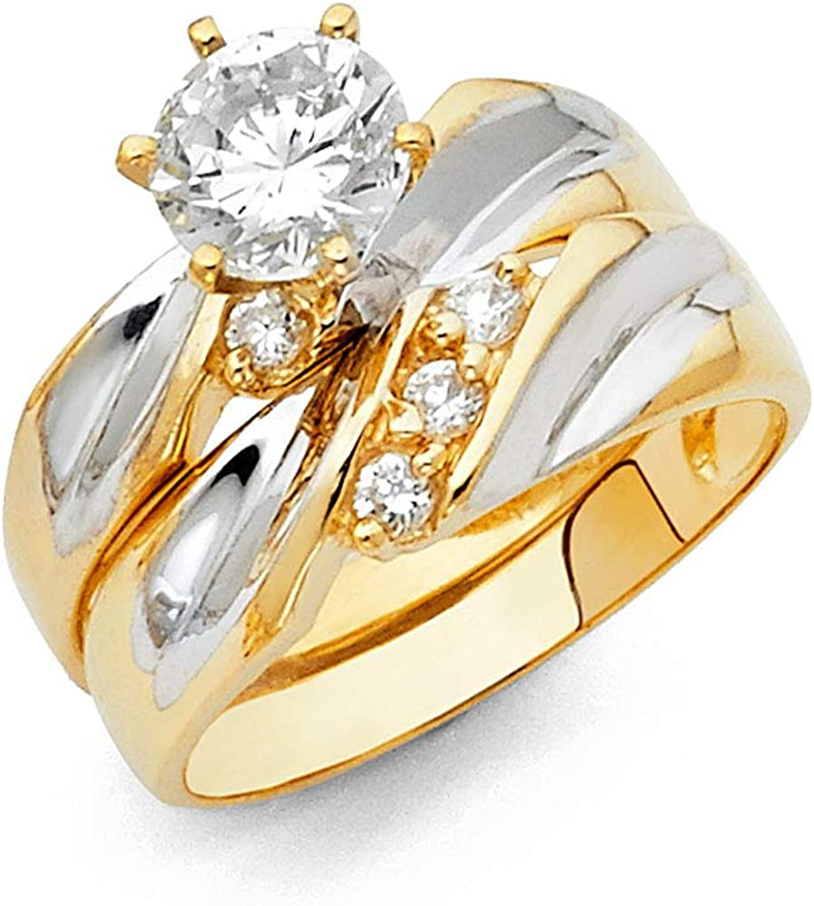 Wellingsale Ladies Solid 14k Two 2 Tone White and Yellow Gold Polished CZ Cubic Zirconia Round Cut Engagement Ring and Wedding Band Bridal Set