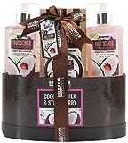 BRUBAKER Cosmetics - Coffret de bain & douche - Noix de coco/Fraise - 5 Pièces - Boîte avec couvercle - Idée cadeau