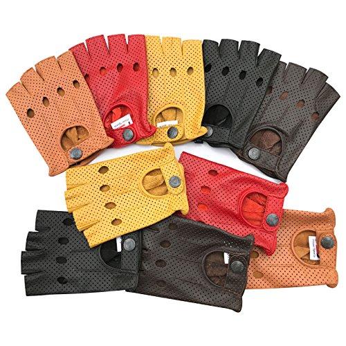 Prime Leather Ultimate Guantes de piel auténtica sin dedos para bicicleta, ciclismo, conducción, estilo vintage, estilo retro, modelo 317 disponible en 5 colores - 317, S, 317-Amarillo