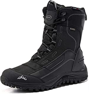 ROCKMARK Men's Winter Snow Boots Outdoor Warm Mid Calf Waterproof Durable Boot Non-Slip Warm Climbing Shoes