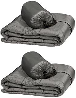 Double Black Diamond Packable Down Throw - Ultra Light 60 Inch X 70 Inch, Stuff Sack Included (Gray), 2-pack