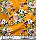 Soimoi Orange Viskose Chiffon Stoff Kolibri, Laub &