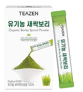 TEAZEN Organic Barley Sprout Powder, Korean Organic Superfood Greens Barley Grass Powder, Powdered Iced Tea, 10 Sticks, 0.7oz