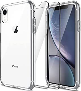 LK Case for iPhone XR with 2 Pack Screen Protector Tempered Glass, (Shock-Absorption) Full Protection Case -Clear