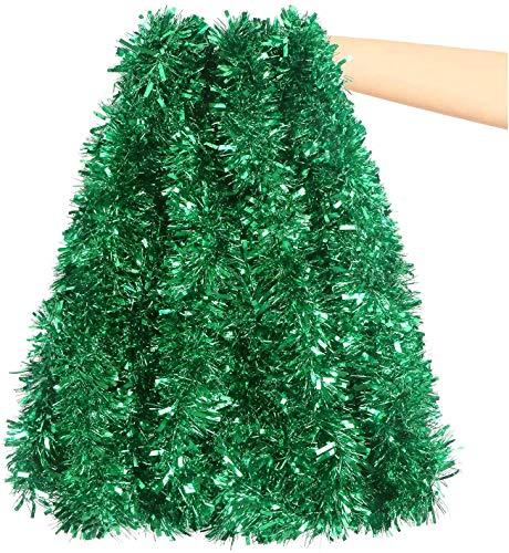 DIYASY 6M Green Christmas Chunky Tinsel Garland Decorations for Christmas Tree Decorations